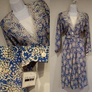 Vtg 80s Leslie Fay NWT floral belted romper dress